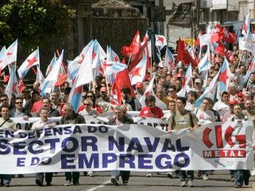 Manifestación en defensa de los astilleros gallegos.