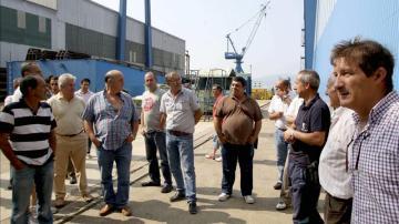 Trabajadores de los astilleros de Freire durante un encierro