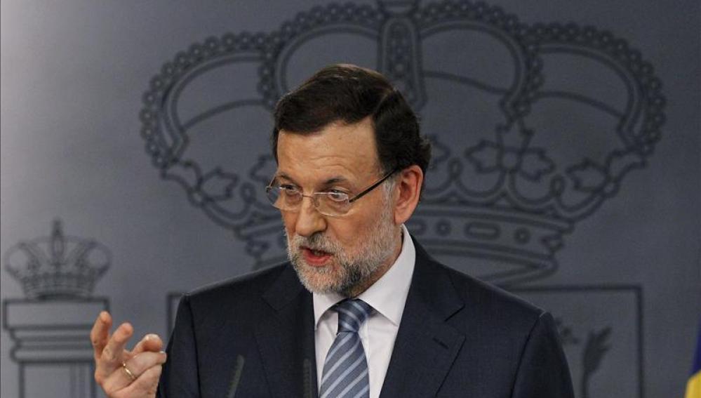 Mariano Rajoy en La Moncloa habla ante los medios