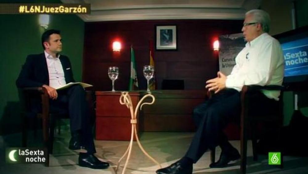 Baltasar Garzón durante la entrevista en laSexta Noche