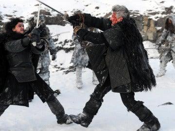 Jon Nieve y Qhorin Mediamano