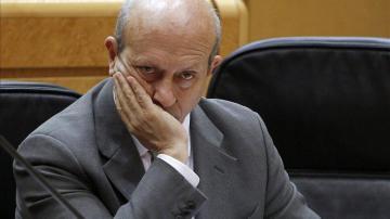José Ignacio Wert se tapa la boca en el Senado
