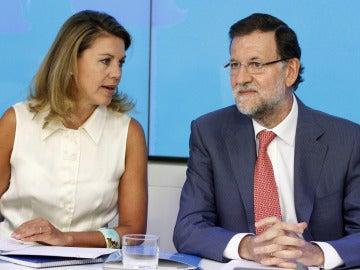 Mariano Rajoy y María Dolores de Cospedad, al inicio de la reunión del Comité Ejecutivo Nacional del PP.