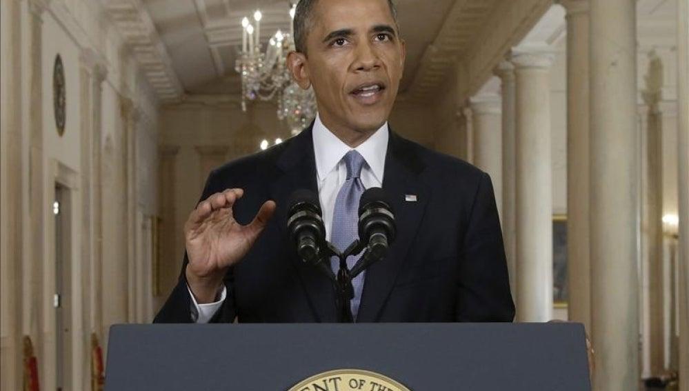 Barack Obama en un discurso en la Casa Blanca.