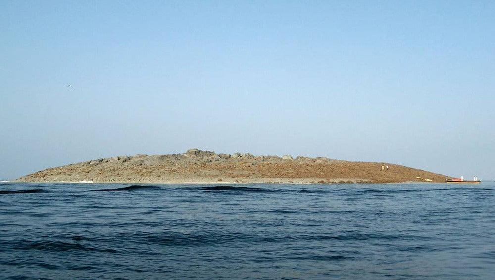 Imagen del islote que ha surgido tras el terremoto