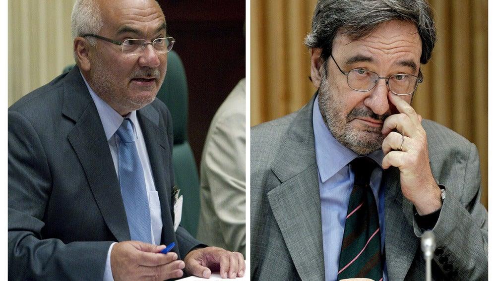 El expresidente de Catalunya Caixa, Narcís Serra, y el exdirector general, Adolf Todó.