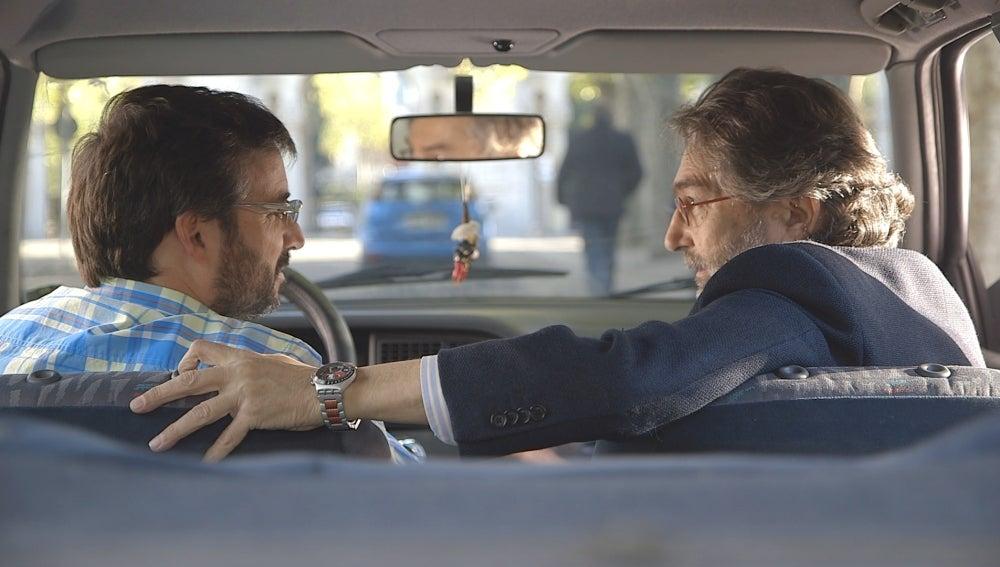 Jordi Évole con Antonio Rubio, Periodista Investigación y Director Máster Periodismo Investigación El Mundo-URJC