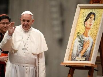 El papa Francisco en la Basílica de San Pedro del Vaticano