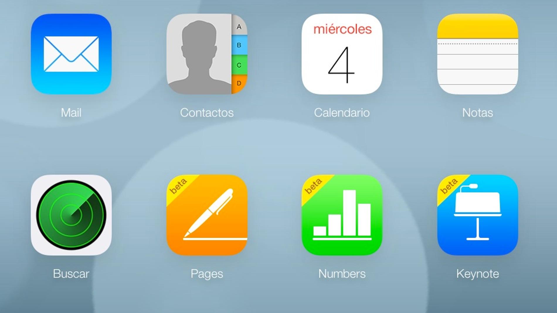 Captura de pantalla de la versión web de iCloud