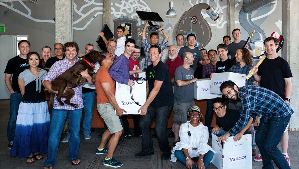 El equipo de Xobni, celebrando su compra por parte de Yahoo!