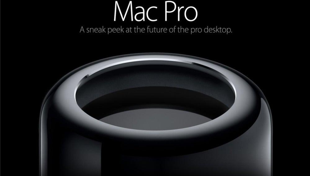 Imagen promocional del Mac Pro cilíndrico