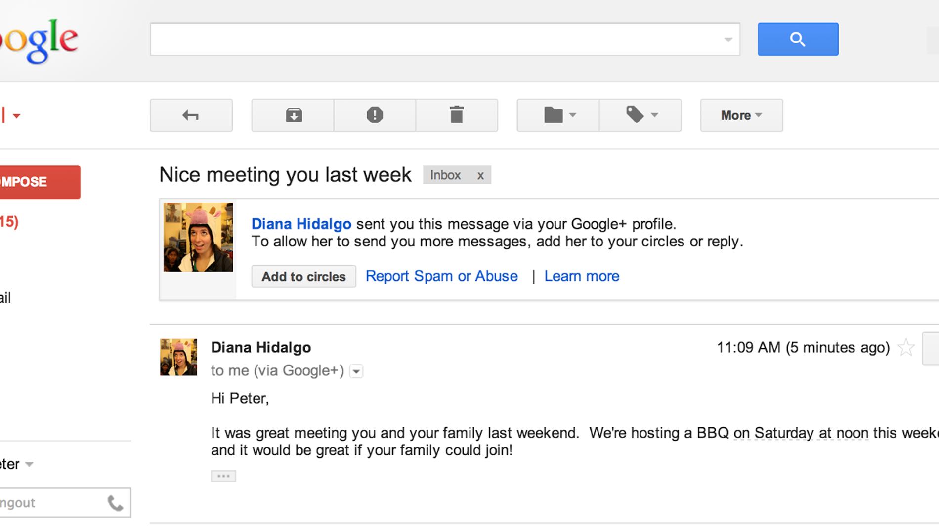 Aspecto de la bandeja de Gmail con Google+ integrado