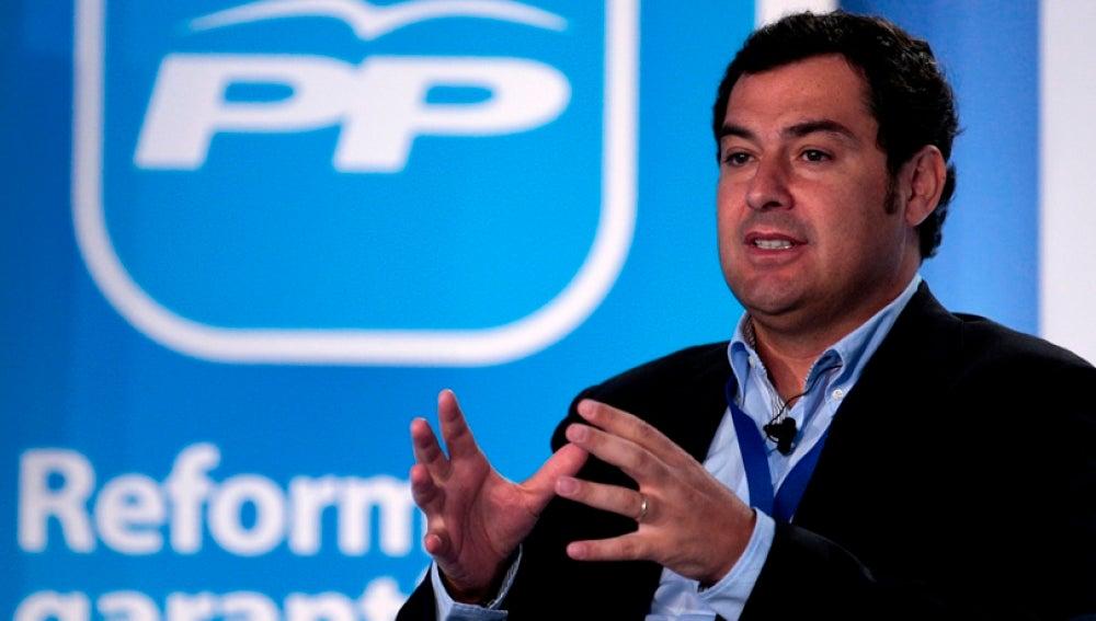 Juan Manuel Moreno Bonilla durante un acto electoral