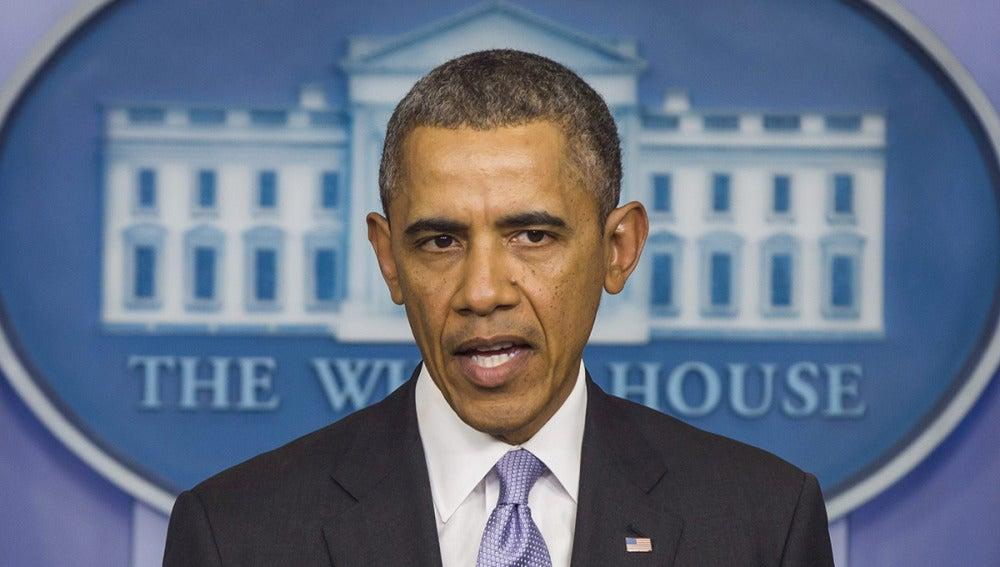 Barack Obama durante su comparecencia en la Casa Blanca