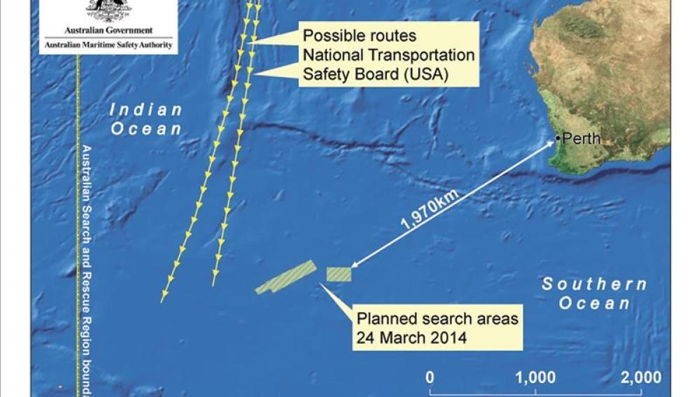 Un avión chino divisa posibles restos del avión malasio desaparecido