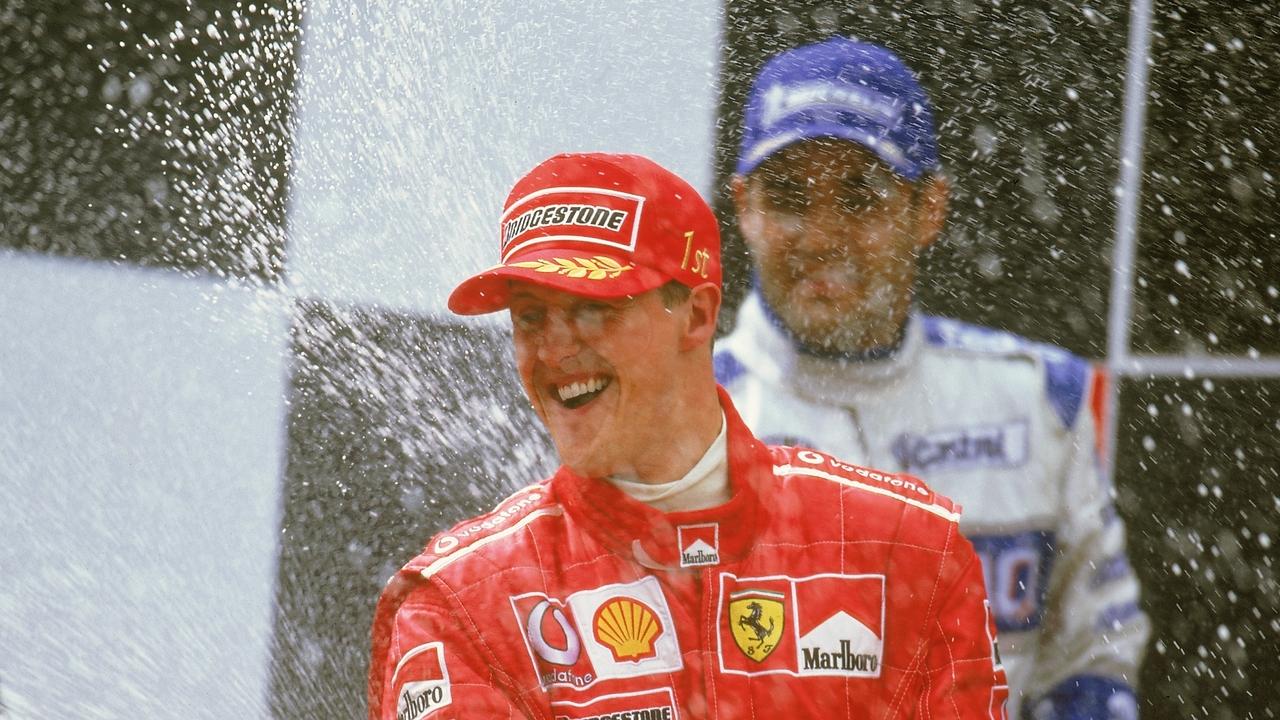 Schumacher celebra su victoria en Montmeló en 2003