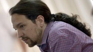 El líder de Podemos, Pablo Iglesias, en rueda de prensa