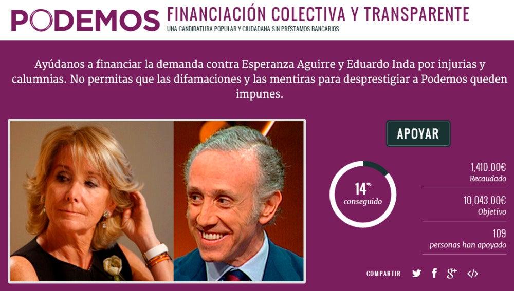 Podemos crea un crowfunding para financiar la demanda contra Aguirre e Inda