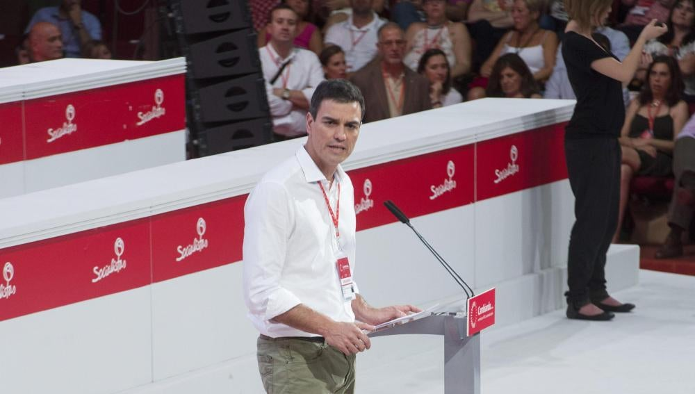 Pedro Sánchez, en el congreso federal extraordinario del PSOE