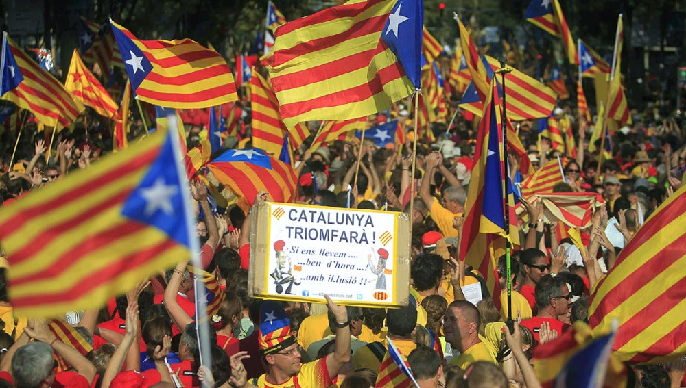 Manifestación durante la Diada de Cataluña