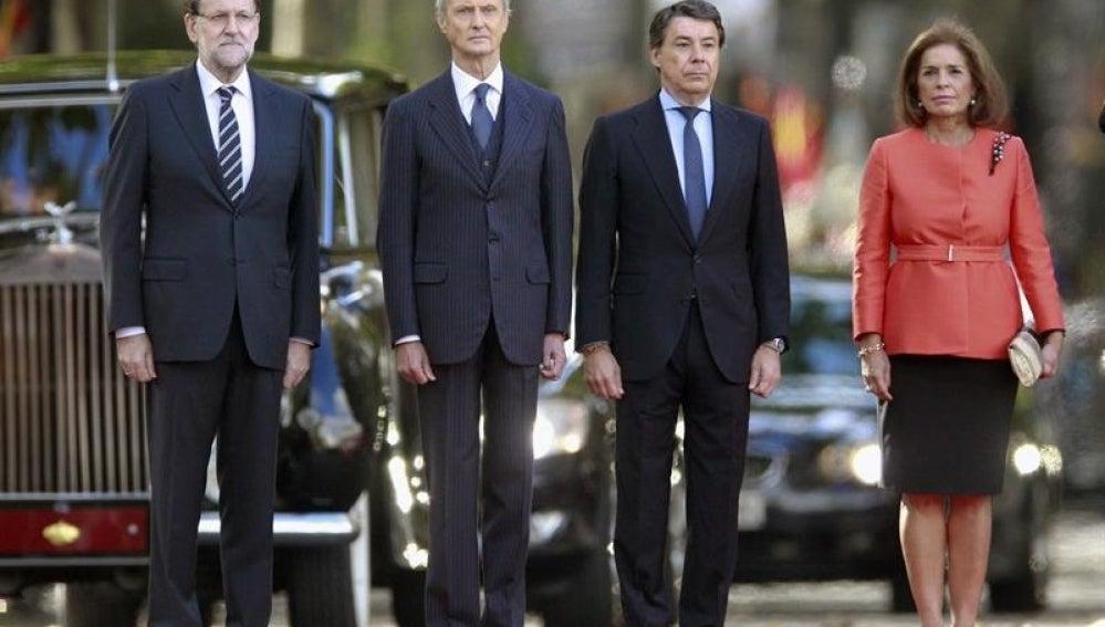 Mariano Rajoy, junto a Pedro Morenés, Ignacio González y Ana Botella