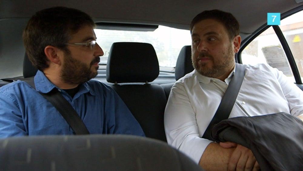 Jordi Évole y Oriol Junqueras, juntos en un taxi