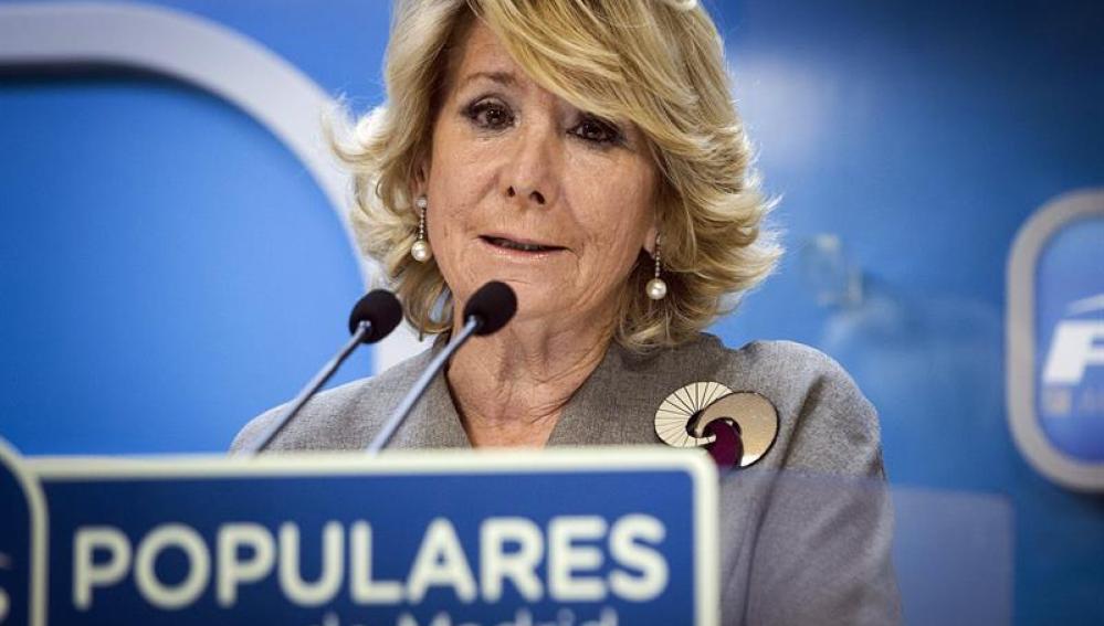 Esperanza Aguirre en rueda de prensa