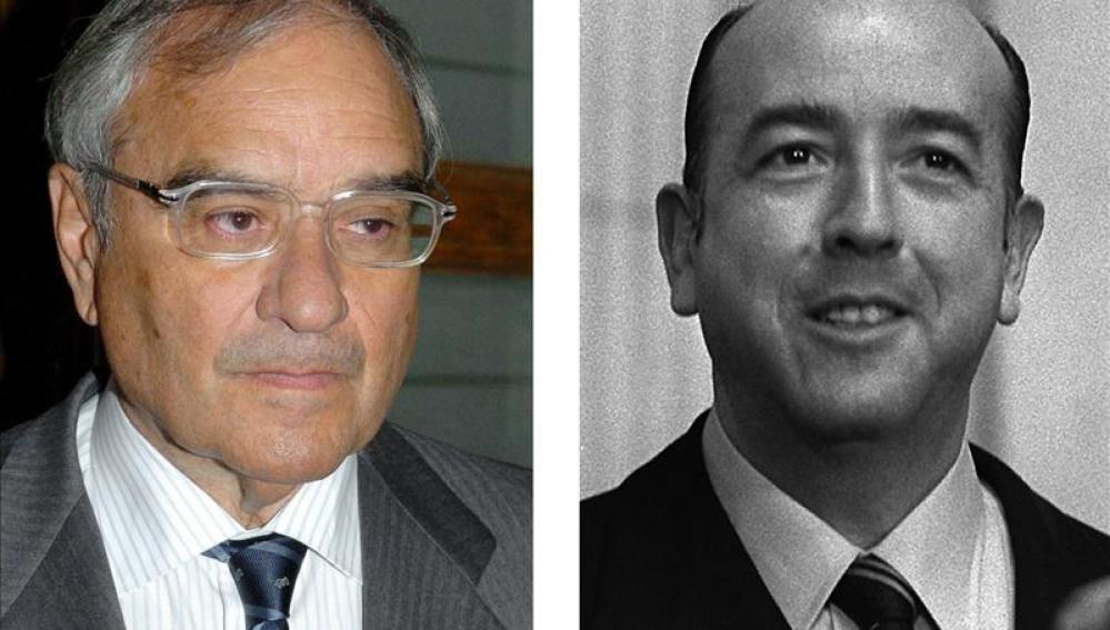 Fotografía de archivo del exministro de la transición Rodolfo Martín Villa (i) y del exministro franquista José Utrera Molina