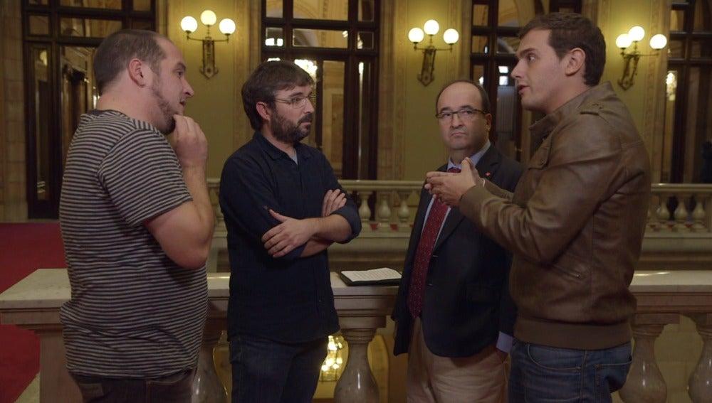 David fernández, Jordi Évole, Miquel Iceta y Albert Rivera en 'Salvados'