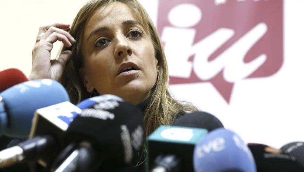 Tania Sánchez ante los medios de comunicación