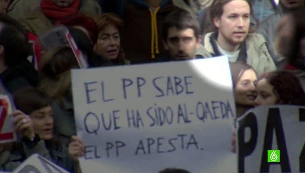 Pablo Iglesias en la manifestación por el 11M