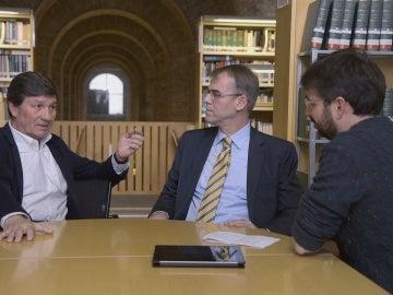 Antonio Gutiérrez, Oriol Amat y Jordi Évole en 'Salvados'