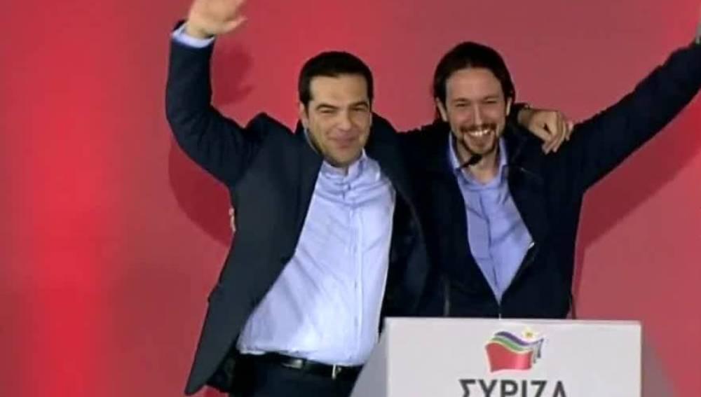 Pablo Iglesias y Tsipras en Grecia
