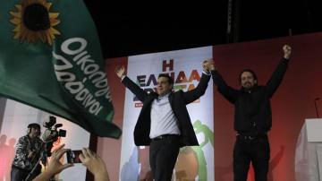 Pablo Iglesias, en un mitin junto a Alexis Tsipras