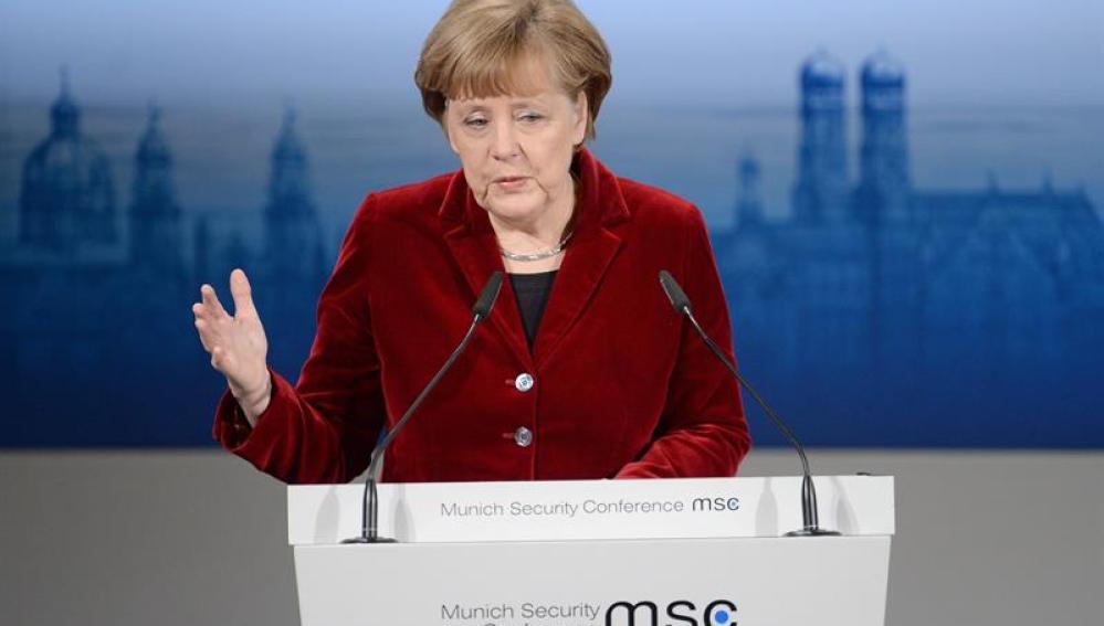La canciller alemana, Angela Merkel, durante su discurso en la Conferencia de Seguridad de Munich