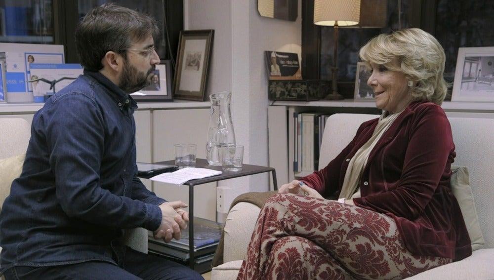Jordi Évole y Esperanza Aguirre en 'Salvados'
