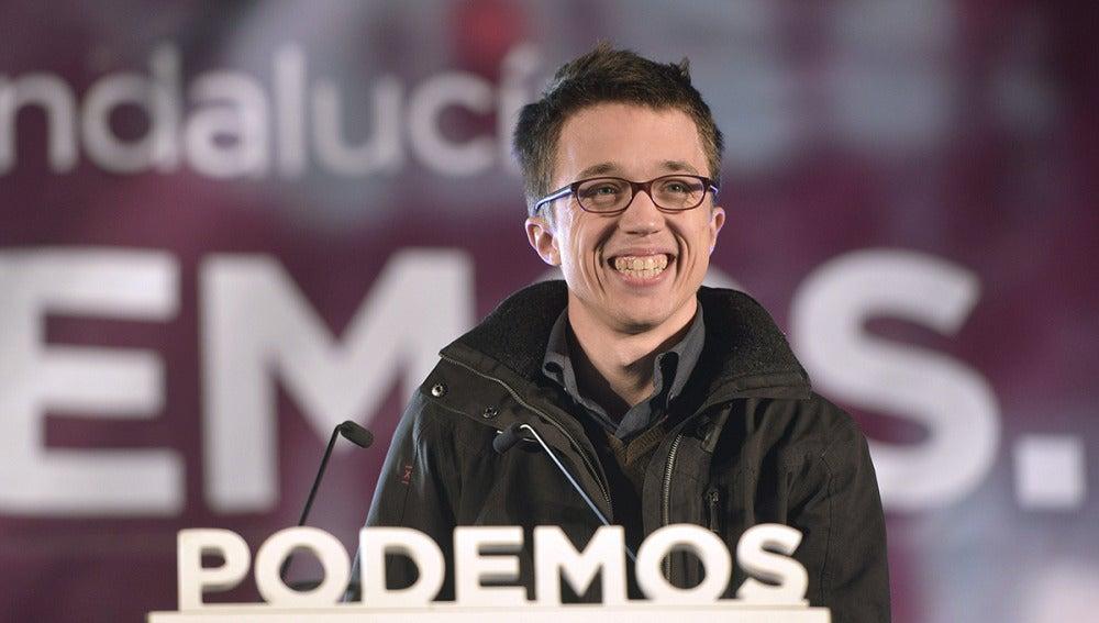 Iñigo Errejón, durante el mitin electoral para los comicios andaluces