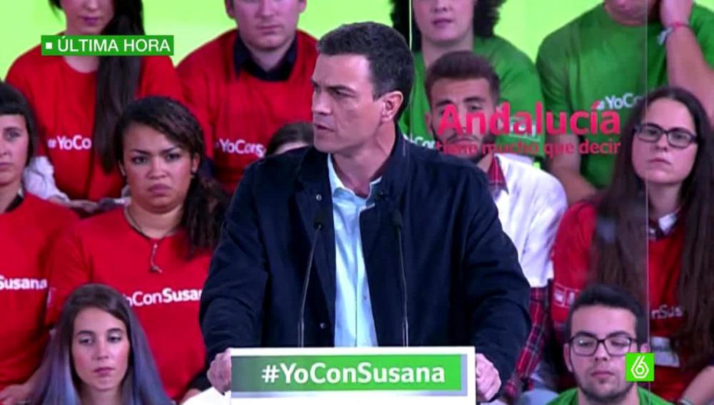 Pedro Sánchez en un acto dela campaña de Andalucí