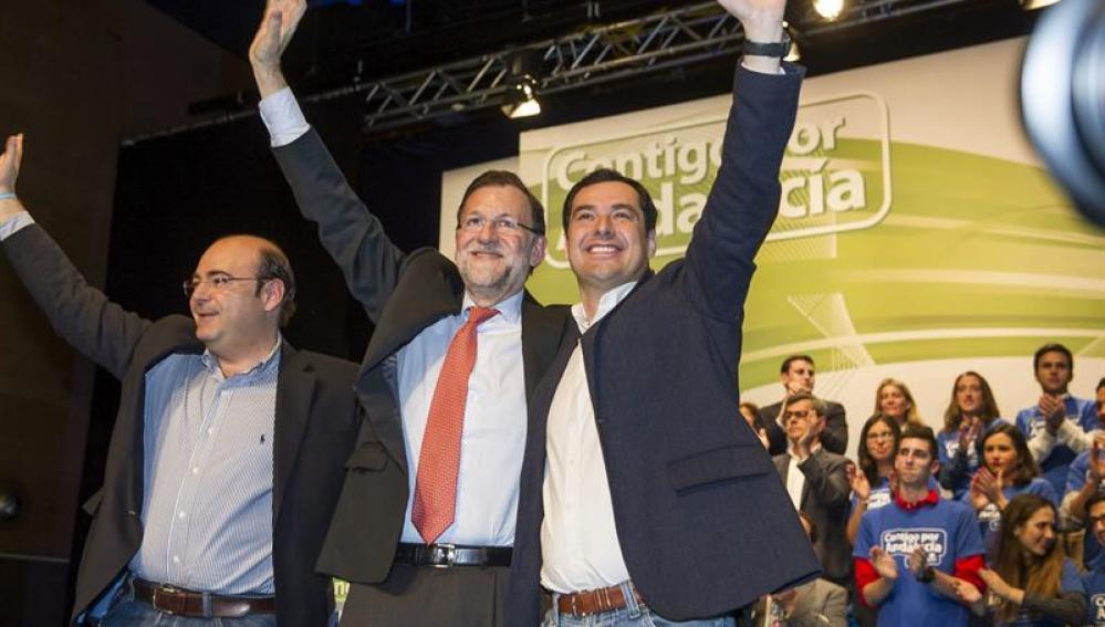 Juanma Moreno y Mariano Rajoy en un acto en Granada