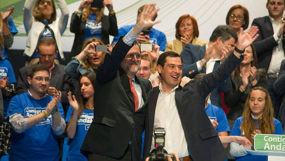 Mariano Rajoy participa en un mitin junto a Moreno Bonilla