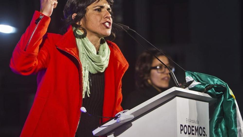 Teresa Rodríguez durante un acto público