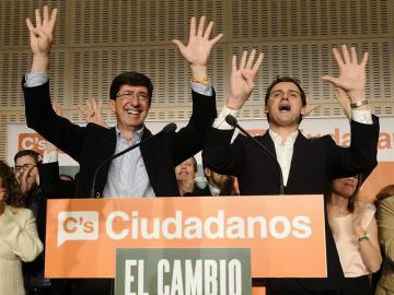 Juan Marín y Albert Rivera celebran el resultado de las elecciones en Andalucía