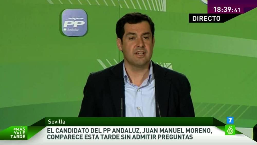 Juanma Moreno durante su comparecencia