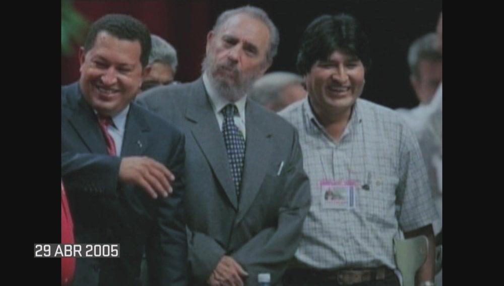 Hugo Chávez, Fidel Castro y Evo Morales