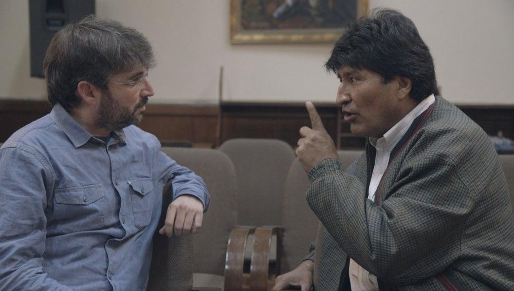 Jordi Évole y Evo Morales en 'Salvados'
