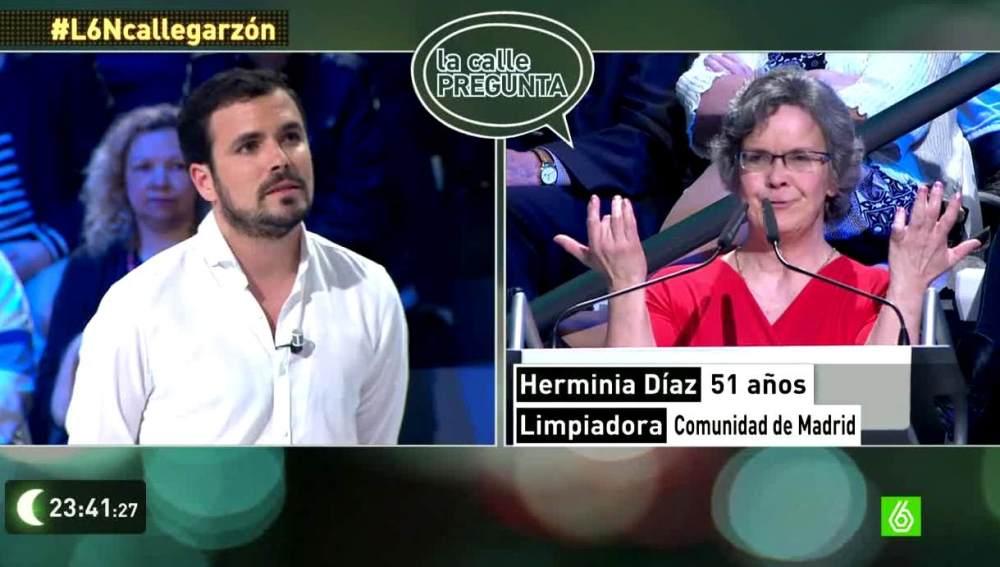 Herminia Díaz pregunta a Alberto Garzón