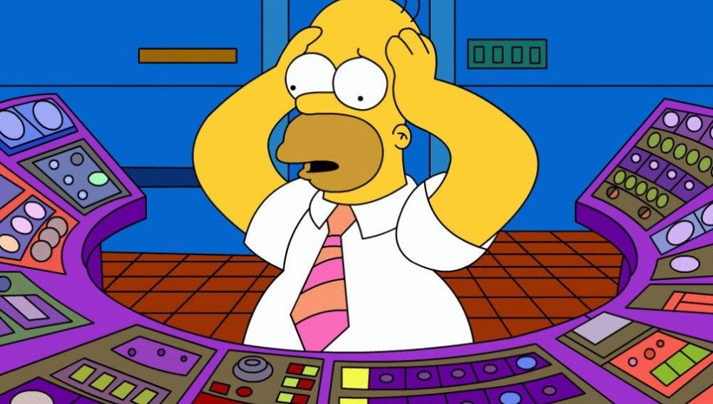 Homer Simpson en la central nuclear