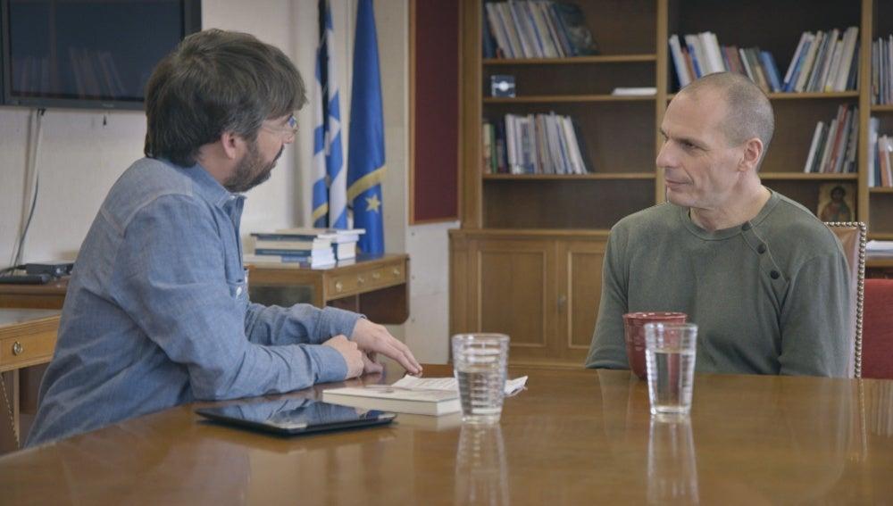 Jordi Évole y Yanis Varoufakis en 'Salvados'