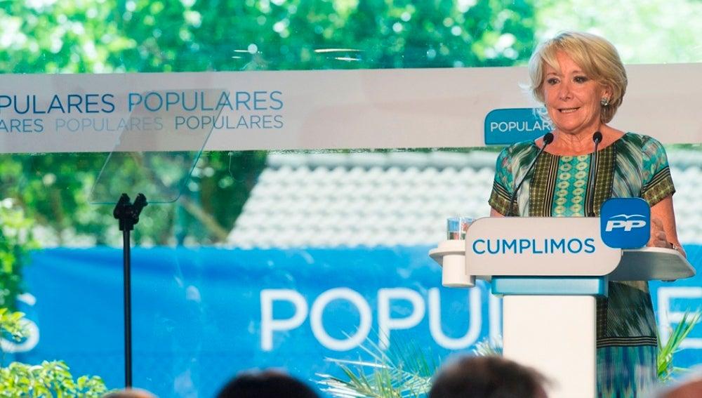 Esperanza Aguirre durante un acto electoral