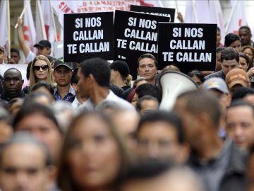 Fotografía de archivo de una manifestación a favor de la libertad de prensa